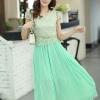ชุดเดรสยาวสวยๆ สีเขียว เสื้อผ้าลูกไม้อย่างดีเย็บต่อด้วยกระโปรงผ้าชีฟอง ใส่ไปงานแต่งงาน ออกงานเลี้ยง ให้ลุคสวยหรู ดูดี S M L XL