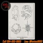 แผ่นหนังเทียมแบบบางลายดอกกุหลาบ สำหรับซ้อมลงเส้น/ลงสี/ลงเงา แผ่นยางฝึกหัดสัก เรียนสักลาย Rose Flower Pattern Synthetic Tattoo Practice Skin