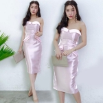 ชุดราตรีสีชมพู เดรสเกาะอกผ้าไหมเทียม เหมาะสำหรับใส่ออกงาน