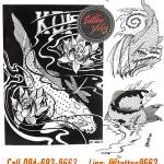 [Horimouja] หนังสือลายสักปลาคาฟ หนังสือสักลาย รูปลายสักสวยๆ รูปรอยสักสวยๆ สักลายสวยๆ ภาพสักสวยๆ แบบลายสักเท่ๆ แบบรอยสักเท่ๆ ลายสักกราฟฟิก Crayfish Tattoo Manuscripts Flash Art Design Outline Sketch Book (A4 SIZE)