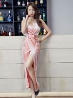 ชุดเดรสออกงานแนวเซ็กซี่สีชมพู ผ้ากำมะหยี น่ารัก