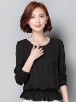 เสื้อทำงานสีดำ คอกลม แขนยาว เอวจั๊มแต่งระบาย สวย น่ารัก