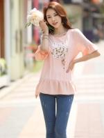 เสื้้อชีฟองแฟชั่นเกาหลี สีชมพูโอรส ปักเลื่อมรูปดอกไม้ น่ารัก