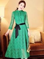 ชุดเดรสลูกไม้สีเขียว ลุคสวยหวาน ดูดี ใส่เที่ยว ใส่ทำงาน ใส่ออกงาน