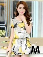 ชุดเดรสสั้นแฟชั่นเกาหลี มินิเดรสกระโปรง สีเหลืองพิมพ์ลายดอกไม้น่ารักๆ เหมาะสำหรับใส่เที่ยววันสบายๆ เดินห้างช้อปปิ้ง ดูหนัง แบบสวยๆน่ารักๆ สไตล์สาวหวาน