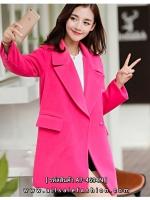 เสื้อโค้ทสีชมพูตัวยาว ทรงสวย ดูดี สไตล์เกาหลี ราคาถูก