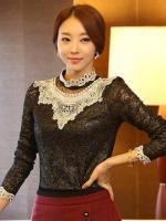 เสื้อทำงาน ผ้าลูกไม้ สีดำ คอแต่งระบายด้วยลูกไม้สีขาว แขนยาว เป็นเสื้อทำงานไสต์เรียบหรู, S M L XL