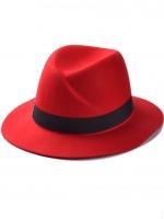หมวกแฟชั่นทรงปานามา สีแดง ผ้าสักหลาด คาดสีดำ ประดับตัว M น่ารัก