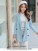 เสื้อโค้ทกันหนาวสีฟ้า ทรงสวย ผ้าเนื้อดี ลุคสวย ดูดี สไตล์เกาหลี