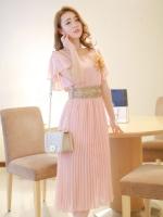 ชุดเดรสออกงาน,ชุดไปงานแต่งงานสวยๆ ชุดเดรสยาว สีชมพู ผ้าชีฟอง ให้ลุคสาวหวานสไตล์เกาหลี สวยหรู ดูดี ( S M L )