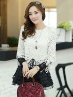 เสื้อแฟชั่นเกาหลีน่ารักๆ เสื้อแขนยาวลูกไม้ สีขาว ขาว คอกลม ปลายเสื้อแต่งด้วยผ้าแก้ว, S M L