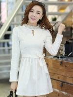 ชุดเดรสสั้นแฟชั่นเกาหลี มินิเดรสสั้นสีขาว คอปักมุก แขนยาว เป็นชุดเดรสสวยๆ แนวหวานน่ารัก เรียบร้อย ดูดี สามารถใส่ออกงานได้ ( M L XL )
