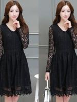 ชุดเดรสลูกไม้สีดำ เรียบหรู สวยหวาน สไตล์เกาหลี