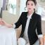 เสื้อสูททำงานผู้หญิงสีดำ แขนยาว ปลายแขนแถบสีขาว ทรงสวย ลุคเรียบๆ สวย ดูดี เรียบร้อย thumbnail 6