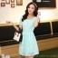 ชุดเดรสลูกไม้สีเขียว คอกลม แขนสั้น แนวเกาหลี สวยหวาน น่ารักๆ thumbnail 1