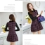 ชุดเดรสทำงานเกาหลี ลาบตาราง(ลายสก๊อต) แขนยาว ผ้าสักหลาด เนื้อผ้าดี ( S M L XL XXL ) thumbnail 5