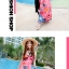 ชุดเดรสเที่ยวทะเลยาวสีชมพู ใส่ไปเที่ยวทะเล เย็บคล้องคอ เอวยืด พิมพ์ลายดอกไม้ สวยหวาน thumbnail 3