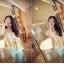 เสื้อทำงานแฟชั่นสไตล์เกาหลีสวยๆ เสื้อแขนสั่นสีเหลือง คอปก ผ้าชีฟองเนื้อผ้าบางเบาใส่สบาย กระดุมผ่าหน้า แถมฟรีเสื้อซับในสีขาว , thumbnail 2