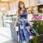 ชุดเดรสสั้นสีน้ำเงินพิมพ์ลายดอกไม้ สวยหวาน น่ารัก สดใส แฟชั่นสไตล์เกาหลี ราคาถูก