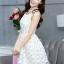ชุดเดรสสั้นออกงาน ไปงานแต่งงาน น่ารักๆ สีครีมอ่อน ผ้า organza ปักลายดอกไม้ คอกลม แขนกุด กระโปรงทรงสุ่ม ซิปหลัง ซับในอย่างดี ไซส์ XL thumbnail 5