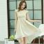 ชุดเดรสออกงานสวยๆ ชุดเดรสสั้น สีเบจ ผ้าชีฟอง ใส่ไปงานแต่งงาน ออกงานเลี้ยง ให้ลุคสาวหวานสไตล์เกาหลี สวยหรู ดูดี ( S M L XL )