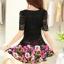ชุดเดรสสั้นลายดอกไม้ เสื้อผ้าลูกไม้สีดำ เย็บต่อด้วยกระโปรงสั้นลายดอกไม้สีชมพู เป็นชุดเดรสแฟชั่นน่ารักๆ สไตล์เกาหลี ( S,M,L,XL,) thumbnail 4