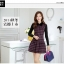 ชุดเดรสทำงานเกาหลี ลาบตาราง(ลายสก๊อต) แขนยาว ผ้าสักหลาด เนื้อผ้าดี ( S M L XL XXL ) thumbnail 2