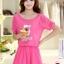 ชุดเดรสสั้นน่ารักๆ สีชมพู ผ้าชีฟอง สกรีนตัวเลข ขนาดไซส์ XL