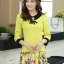 ชุดเดรสทำงาน แนวสวยหวานน่ารัก สีเหลือง คอปก แขนสี่ส่วน เอวเข้ารูป กระโปรงลายดอกไม้ S M L XL