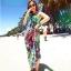 ชุดเดรสเที่ยวทะเลยาวสีม่วงเขียว พิมพ์ลาย เย็บคล้องคอ ใส่ไปเที่ยวทะเล สวยเก๋