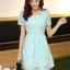 ชุดเดรสลูกไม้สีเขียว คอกลม แขนสั้น แนวเกาหลี สวยหวาน น่ารักๆ thumbnail 7