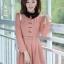 ชุดทำงานสวยๆ ชุดเดรสสั้น สีชมพู คอปก แขนยาว ให้ลุคสาวหวานสไตล์เกาหลี สวยหรู ดูดี ( S M L )