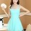 ชุดเดรสสั้นแฟชั่นเกาหลี ชุดไปงานแต่งงาน ชุดเดรสสีฟ้า ชุดลูกไม้สีฟ้า ผ้าลูกไม้ดานใน ด้านนอกผ้าใยแก้วบางๆ มีซับในทั้งตัว ซิปหลัง thumbnail 3