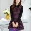 ชุดเดรสทำงานเกาหลี ลาบตาราง(ลายสก๊อต) แขนยาว ผ้าสักหลาด เนื้อผ้าดี ( S M L XL XXL ) thumbnail 12