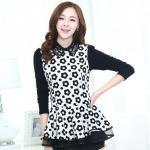 ( Size : L ) เสื้อทำงานสวยๆแฟชั่นเกาหลี เสื้อเชิ้ตสีขาว ลายดอกไม้ แขนยาว ปลายเสื้อแต่งระบาย ผ้าโพลีเอสเตอร์