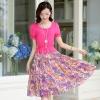ชุดเดรสยาวสีชมพู ผ้าชีฟอง แขนสั้น คอกลม เอวยืด กระโปรง พิมพ์ลายดอกไม้ แนวหวาน