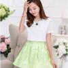 ชุดเซ็ทเสื้อกระโปรงสั้น เสื้อสีขาว แขนสั้น คอกลม กระโปรงสั้นสีเขียว
