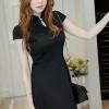 ชุดเดรสสั้นสีดำ คอจีน แขนสั้น สีพื้น เรียบๆ สวยดูดี ใส่ได้ทั้งเป็นชุดลำลองสวยๆ ชุดทำงานน่ารักๆ