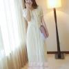 ชุดเดรสยาวแฟชั่นเกาหลี สีเบจ ผ้าชีฟอง เสื้อแต่งระบายน่ารักๆ แขนสั้น กระโปรงพลีท เป็นชุดเดรสสวยหวาน น่ารัก ดูเรียบร้อย สามารถใส่ออกงาน ไปงานแต่งงานได้ (S M L)