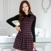 ชุดเดรสทำงานเกาหลี ลาบตาราง(ลายสก๊อต) แขนยาว ผ้าสักหลาด เนื้อผ้าดี ( S M L XL XXL )