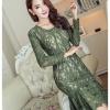 ชุดเดรสลูกไม้สีเขียว เข้ารูป สวย ดูดี สไตล์เกาหลี ราคาถูก