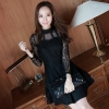 ชุดเดรสสั้นสีดำ ผ้าลูกไม้ แขนยาว เรียบร้อย สวยหวาน น่ารัก ดูดี