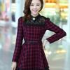ชุดทำงานแฟชั่นเกาหลี ชุดเดรสสั้นลายสก๊อตสีแดงดำ คอปก แขนยาว ปลายกระโปรงแต่งด้วยผ้าแก้ว ,S M L XL