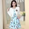 ชุดทำงานแฟชั่นเกาหลีสวยๆ มินิเดรสกระโปรงสั้น ชุดเซ็ท 2 ชิ้น ชุดเดรสสั้นพิม์ลายน่ารักๆ + เสื้อคลุมเก๋ๆ สีฟ้า ( M L XL XXL )