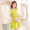 ชุดเดรสทำงานสีเหลือง สีสันสดใส ทรงตรง แขนสั้นสีขาว ลุคสาวออฟฟิศสวยสดใส