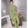 ชุดแฟชั่นเกาหลีสวยๆ สีเขียว ชุดเสื้อ-กางเกงขายาว