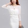 ชุดเดรสสั้นสีขาว SET เสื้อครอปแขนยาว + เดรสเกาะอกเข้ารูป แนวแฟชั่นเกาหลีสวยๆ น่ารักๆ