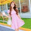 ชุดเดรสทำงานสีชมพูแนวหวานน่ารักๆ สีชมพูลายจุด แขนสั้น กระโปรงบาน