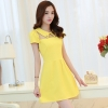 ชุดเดรสสั้นสีเหลือง คอปก แขนสั้น เอวเข้ารูป แฟชั่นสไตล์เกาหลี