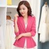 เสื้อสูททำงานผู้หญิงสีชมพู ชายเสื้อแต่งระบายสองชั้น ติดกระดุม แขนยาว ราคาถูก
